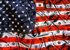 dollars and American flag