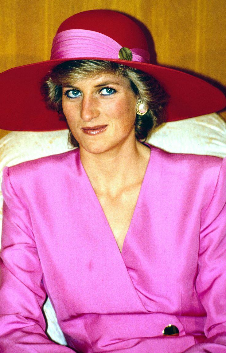 Princess Diana in pink silk suit